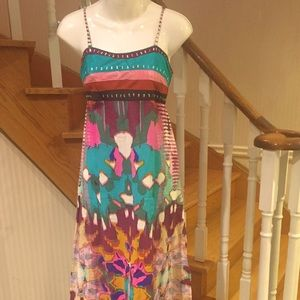 Multi coloured floral summer maxi /ankle dress